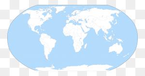 A Large Blank World Map With Oceans Marked In Blue - Mapa Mundi PNG