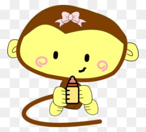 Baby Girl Monkey Clip Art Baby Girls Cartoon, Baby - Monkey Clipart Images