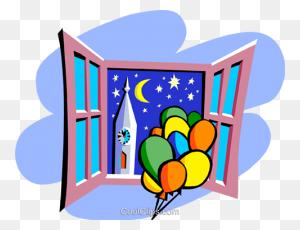 Balloons Against Night Sky Royalty Free Vector Clip Art - Night Sky Clipart