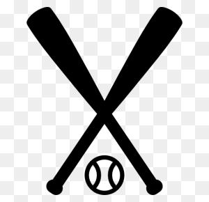 Bat, Sports, Crossed, Team Sports, Baseball, Sports Ball Icon - Crossed Baseball Bats Clipart Black And White