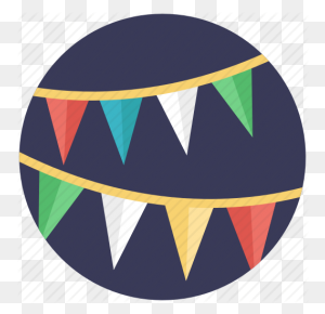 Bunting Flags, Buntings, Party Decoration, Party Flags, Pennants Icon - Flag Bunting Clipart