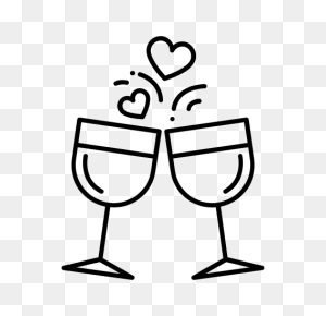Champagne, Love, Party, Valentine, Valentine's Day, Wedding, Wine Icon - Valentine Party Clip Art