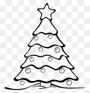 Christmas Tree Black And White Pretty Decorated Christmas Trees - Christmas Clipart