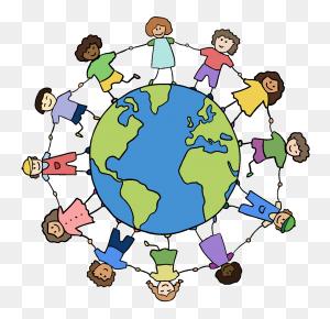 Clipart World Holding Hand Around World, Clipart World Holding - Children Around The World Clipart