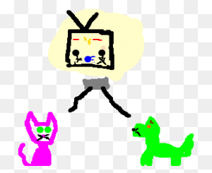 Cute Anime Cat Plays Vidgames W Evil Anime Dog - Anime Cat PNG