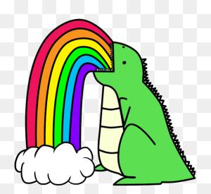 Drawings Of Rainbows Dinosaur Puking Rainbows - Puke Clipart