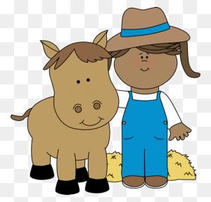 Farm Girl With A Horse From Mycutegraphics Farm Clip Art - Farm Girl Clipart