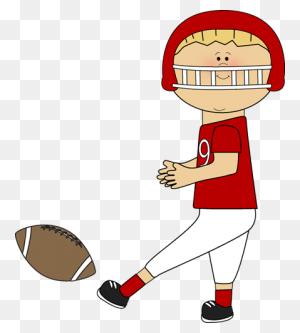 Football Player Kicking A Football Cute Clips - Playing Football Clipart