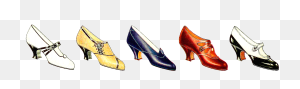 Free Fashion Clip Art Vintage Women's Shoe Fashion Graphic Border - Celery Clipart