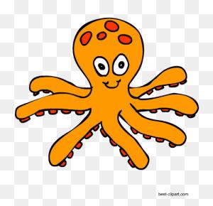 Free Marine Animals, Ocean Animals Or Under Water Animals Clip Art - Octopus Black And White Clipart