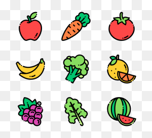 Fruits And Vegetables Icon Packs - Fruits And Vegetables PNG