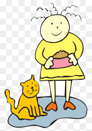 Girl Feeding Her Cat Girl Girl Clipart, Girls - Cat Food Clipart