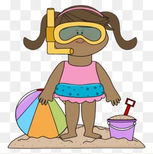 Girls At Beach Clipart - Two Girls Clipart