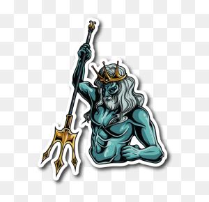 Greek God Poseidon Sticker Vinyl Stickers Marijuana Stickers - Poseidon PNG