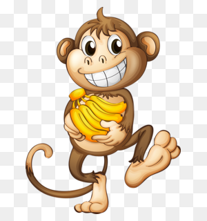Happy Monkey With Bananas Monkeys Monkey, Cartoon - Monkey Banana Clipart