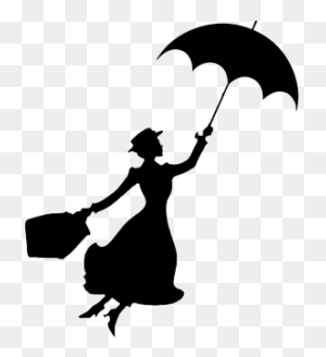 Mary Poppins Stencil Disney Silhouettes, Silhouettes - Disney Castle Clipart Black And White