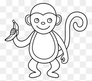 Monkey Black And White Monkey Clip Art Black And White Free - Monkey Clipart Black And White