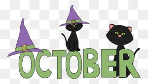 October Black Cats Clip Art October Black Cats Image - October Birthday Clipart