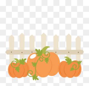 Pumpkins With Fence Cutting Cute For Cricut - Pumpkins PNG