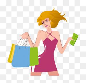 Shopping Girl Cartoon - Cartoon Girl PNG