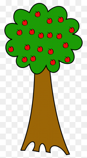Summer Apple Tree With Red Fruits In Green Field - Summer Fruits Clipart