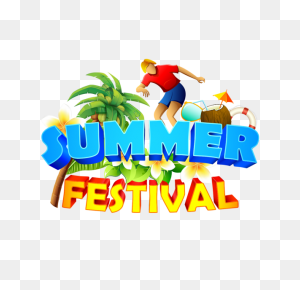Summer Festival With Summer Elements, Summer, Beach, Coconuts Tree - Elements PNG