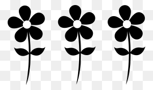 Three Daisy Silhouettes Silhouettes Flowers, Art - Papel Picado Clipart Black And White
