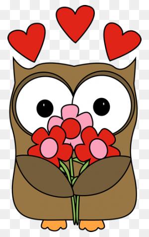 Valentine's Day Owl Cards Valentine - Valentin Clipart