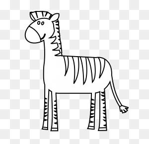 Zebra In Line Drawing - Zebra Clipart