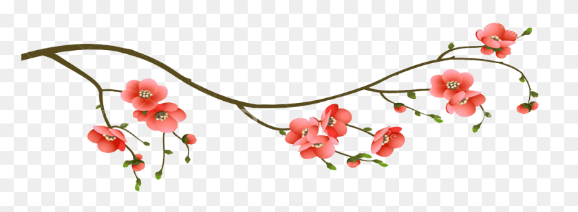 1195x382 Cherry Blossom Branch PNG