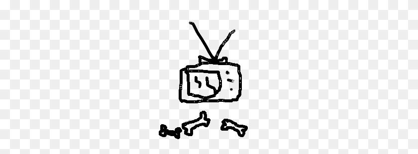A Broken Tv On Top Of A Pile Of Bones Drawing - Pile Of Bones PNG