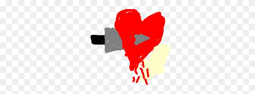 300x250 A Knife Cuts Through A Bleeding Heart Drawing - Bleeding Heart PNG