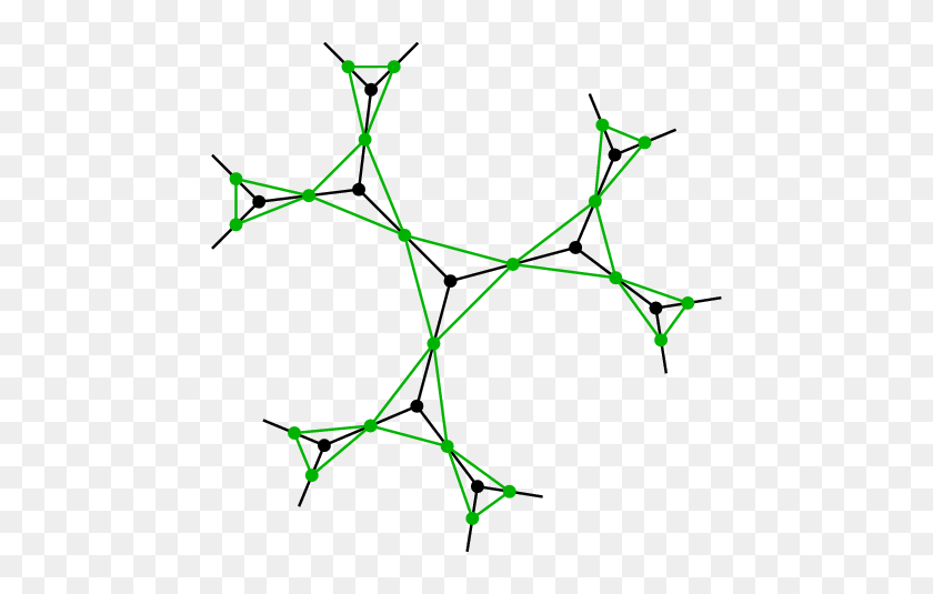A Regular Graph In Black, And Its Line Graph In Green Download - Line Graph PNG