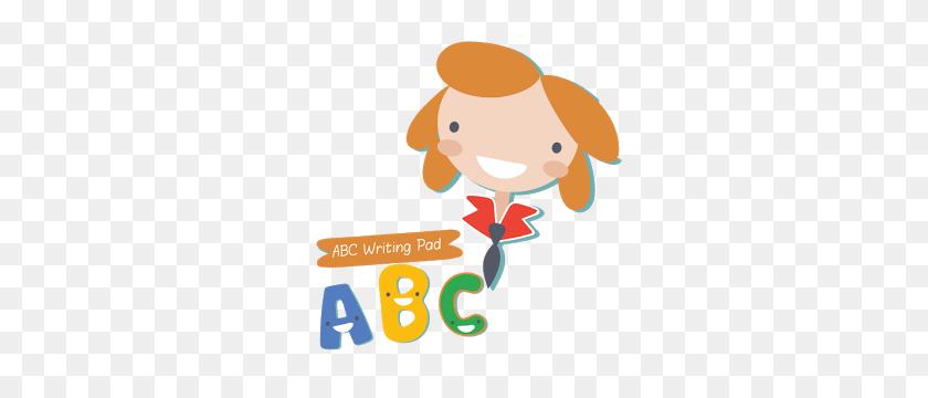 Cute Little Girl Writing Abc Stockillustration 156956309