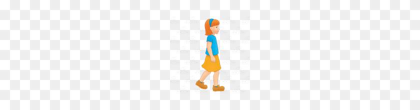 Abeka Clip Art Girl Walking With Blue Headband - Girl Walking PNG