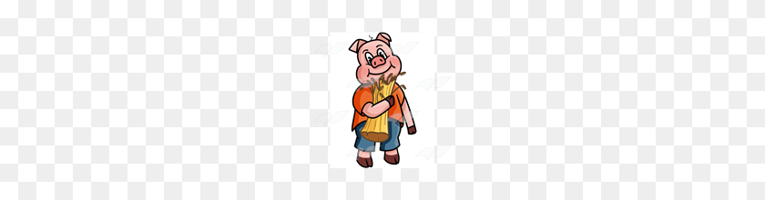 Abeka Clip Art Little Pig Holding Straw - Pig Image Clipart