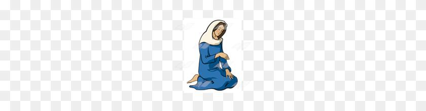 Abeka Clip Art Mary Kneeling - Mary Clipart