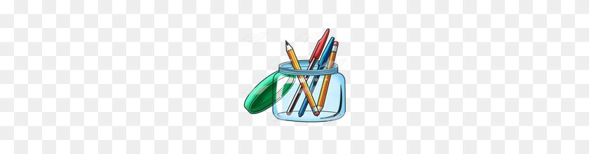 Abeka Clip Art Pencil Jar With Pens And Pencils - Pens And Pencils Clipart