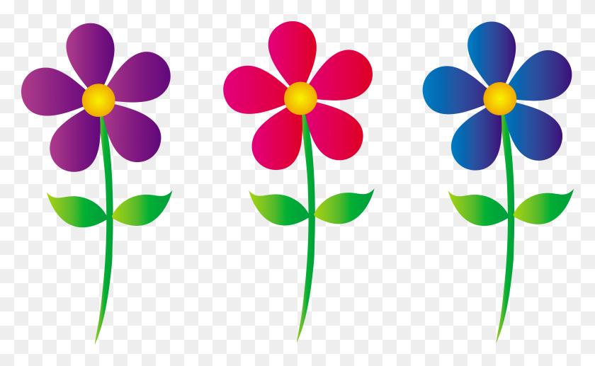 Adorable Clip Art Three Colorful Daisies - Purple Flower Clipart
