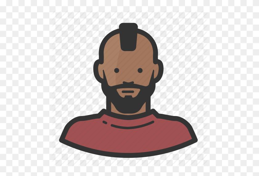 512x512 African American, Beard, Boy, Male, Man, Mohawk, Punk Icon - African American Boy Clipart