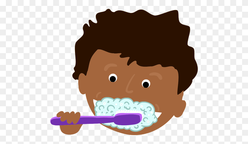 African Kid Brushing Teeth - Child Brushing Teeth Clipart
