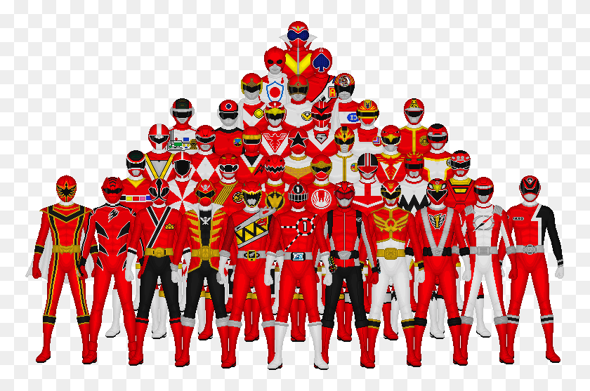 All Of Super Sentai's Reds - Red Power Ranger Clipart
