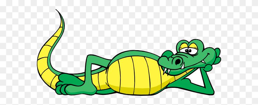 Alligator Relaxing Clip Art - Cartoon Alligator Clipart