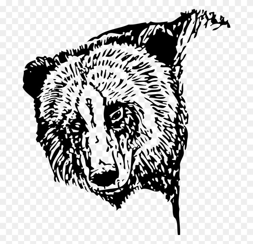 American Black Bear Giant Panda Polar Bear Grizzly Bear Free - Polar Bear Black And White Clipart