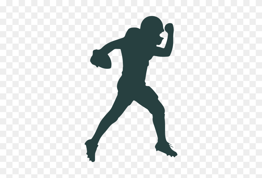 American Football Player Throwing Ball Silhouette - American Football Player PNG
