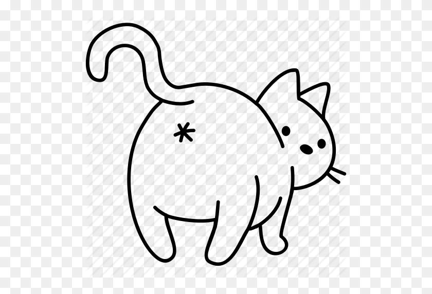 Animal, Ass, Butt, Cat, Feline, Pet, Poop Icon - Cartoon Butt PNG