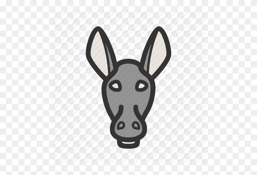Animal, Donkey, Donkeys, Face, Farm, Mammal, Rural Icon - Donkey Face Clipart