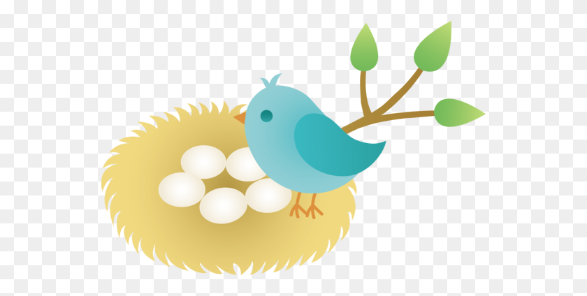 Animated Bird Clip Art Blue Bird With Nest Of Eggs - Free Egg Clipart