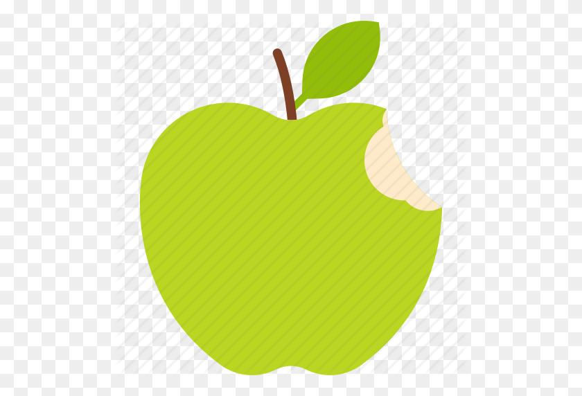 Apple, Bitten, Food, Fruit, Green, Leaf Icon - Bitten Apple PNG