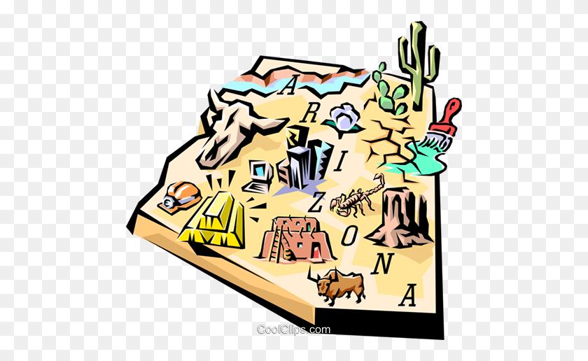 480x456 Arizona Vignette Map Royalty Free Vector Clip Art Illustration - Arizona Clipart